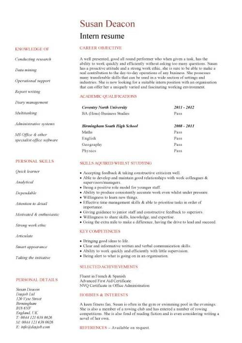 student entry level intern resume template with internship experience pic draft for Resume Resume Template With Internship Experience