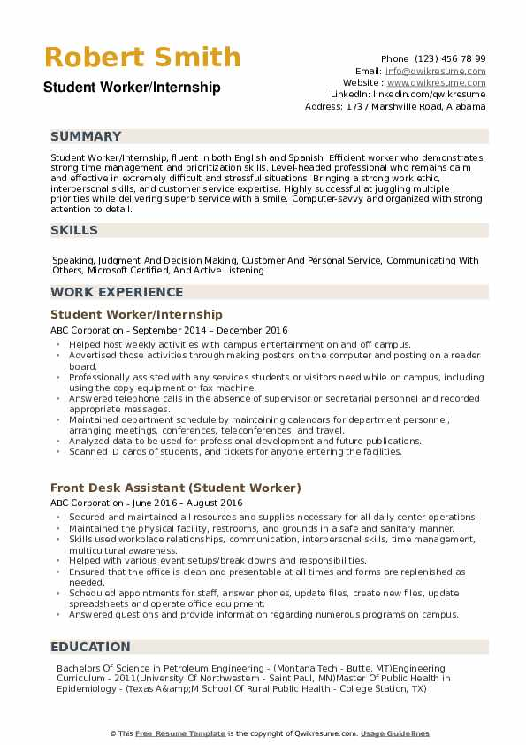 student worker resume samples qwikresume strong work ethic pdf property manager usajobs Resume Strong Work Ethic Resume