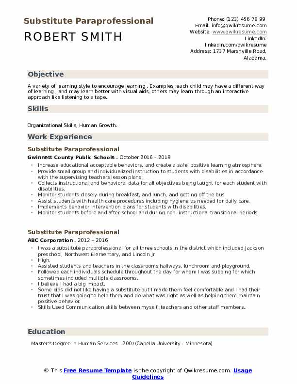 substitute paraprofessional resume samples qwikresume summary examples pdf best for Resume Paraprofessional Resume Summary Examples