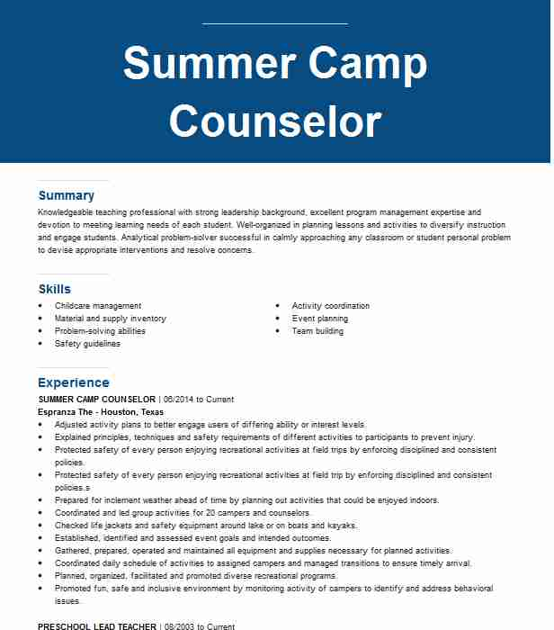 summer counselor resume example resumes livecareer embedded software engineer gas station Resume Day Camp Counselor Resume