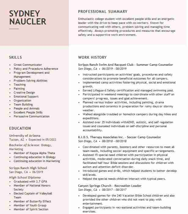summer counselor resume example resumes livecareer embedded software engineer job history Resume Day Camp Counselor Resume