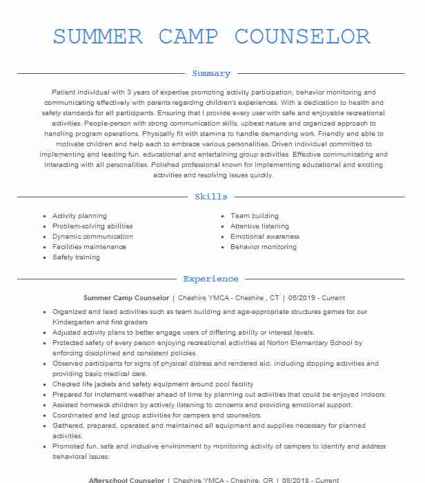 summer counselor resume example resumes livecareer world inc help nyc professional Resume Day Camp Counselor Resume