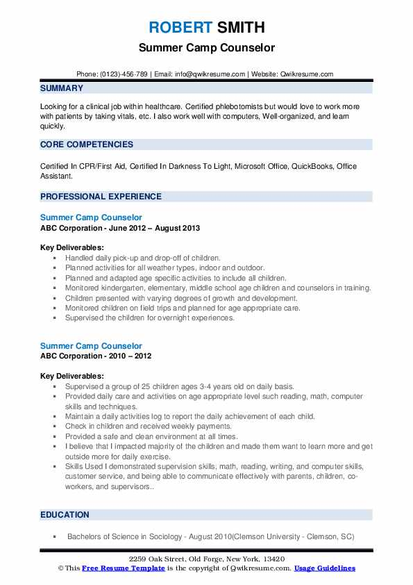 summer counselor resume samples qwikresume pdf civil engineering technologist sample Resume Day Camp Counselor Resume
