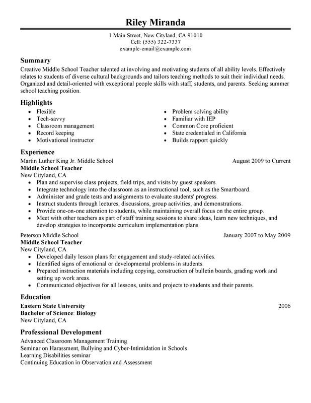 summer teacher resume examples created by pros myperfectresume description for on Resume Description For Teacher On Resume