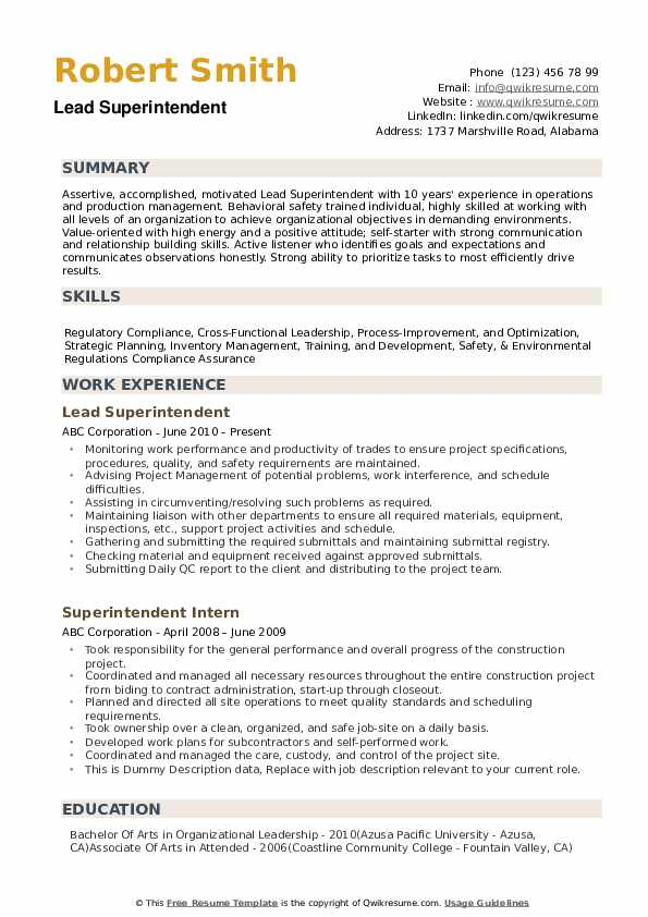 superintendent resume samples qwikresume construction examples and pdf processor for Resume Construction Superintendent Resume Examples And Samples
