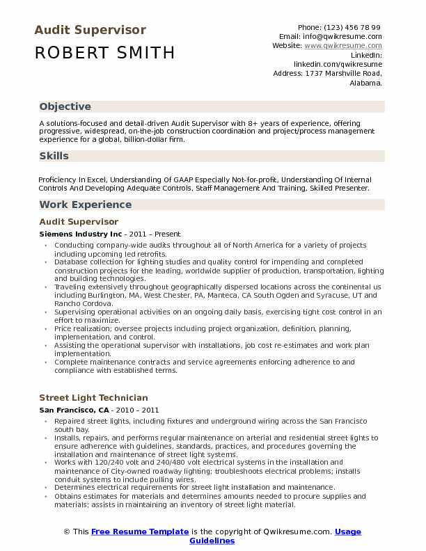 supervisor resume samples examples and tips headline or summary on audit pdf lpn Resume Headline Or Summary On Resume
