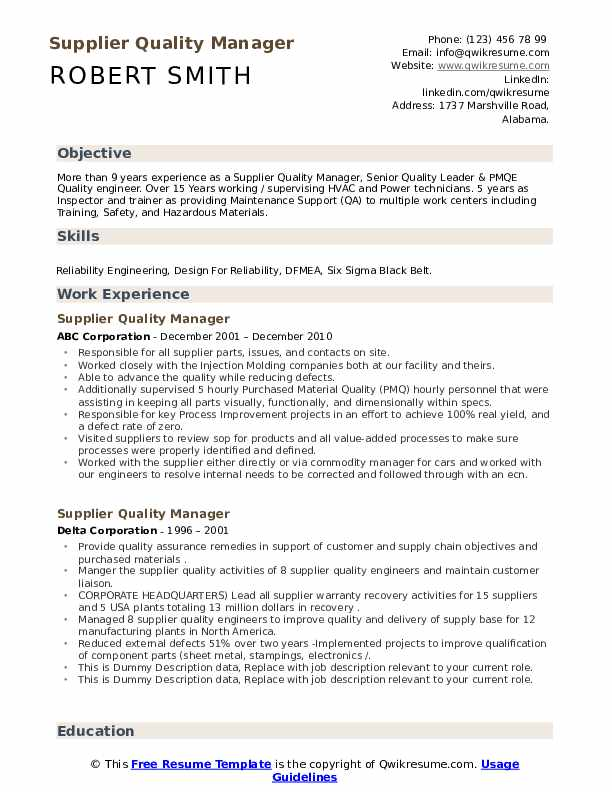 supplier quality manager resume samples qwikresume incharge pdf voice beer simple builder Resume Quality Incharge Resume