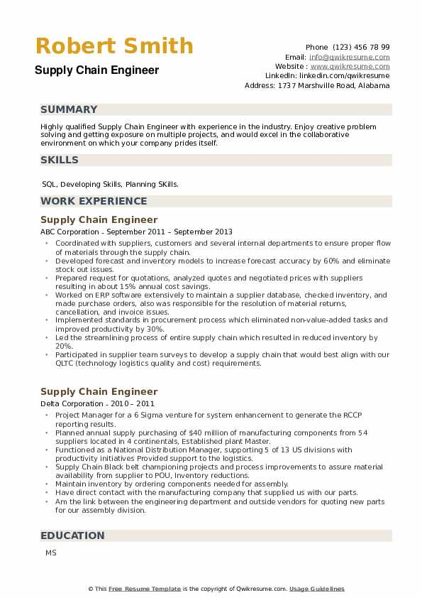 supply chain engineer resume samples qwikresume pdf project controls examples scheduling Resume Supply Chain Engineer Resume
