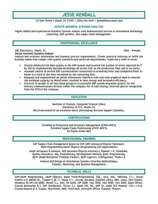 systems analyst resume example supply chain securitas the most professional template Resume Supply Chain Analyst Resume