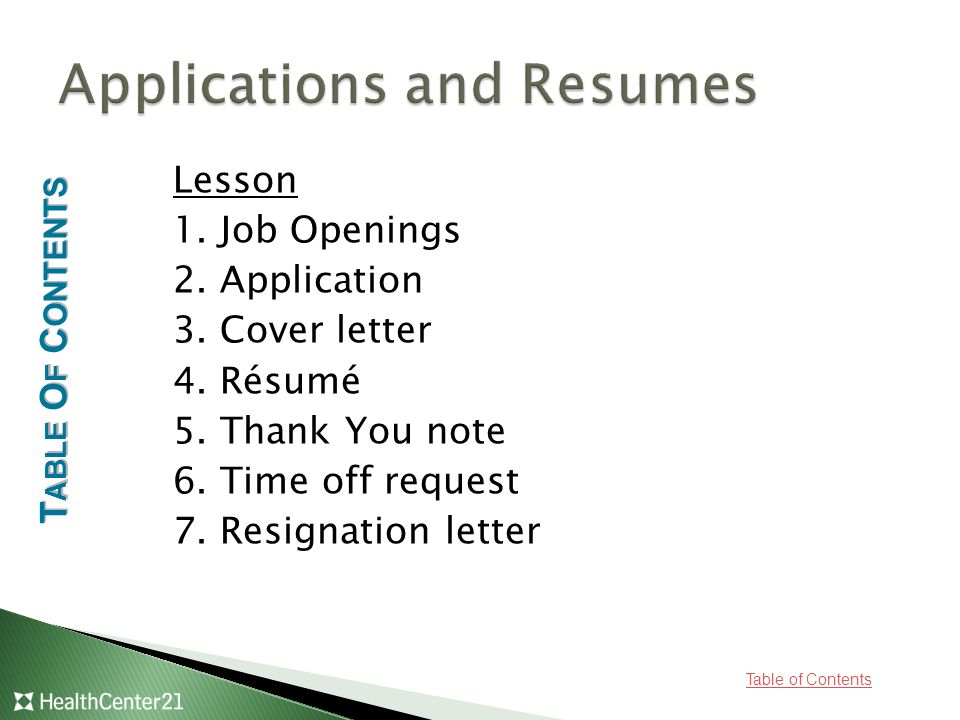 table of contents career planning standard prepare the professional communication Resume Table Of Contents For Resume Portfolio