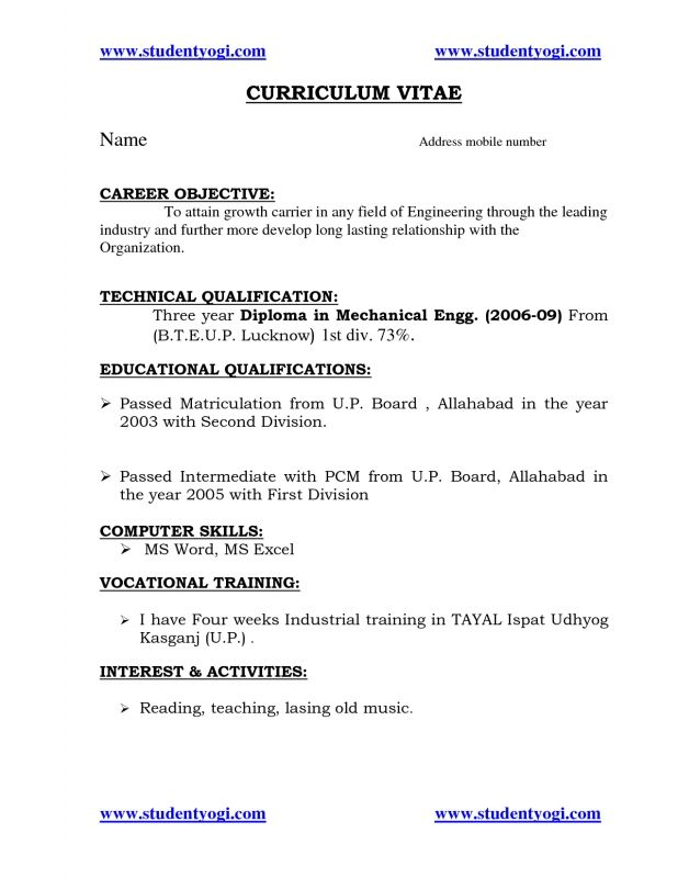 tags resume for fresher mechanical engineering student objective career objectives Resume Objective For Resume For Fresher Mechanical Engineer