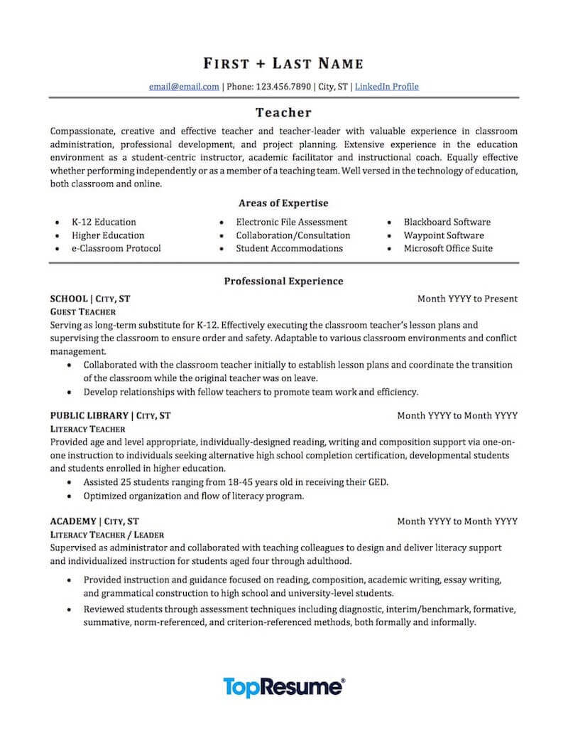teacher resume sample professional examples topresume certification page1 college Resume Teacher Resume Certification