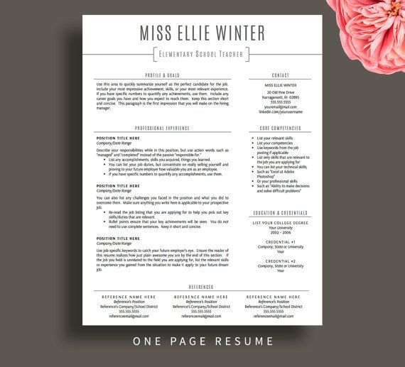 teacher resume template for word cv etsy teaching free certified surgical technologist Resume Teacher Resume Template Free
