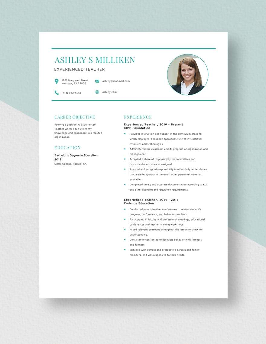 teacher resume template samples formats editable free experienced conducted market Resume Editable Teacher Resume Template Free