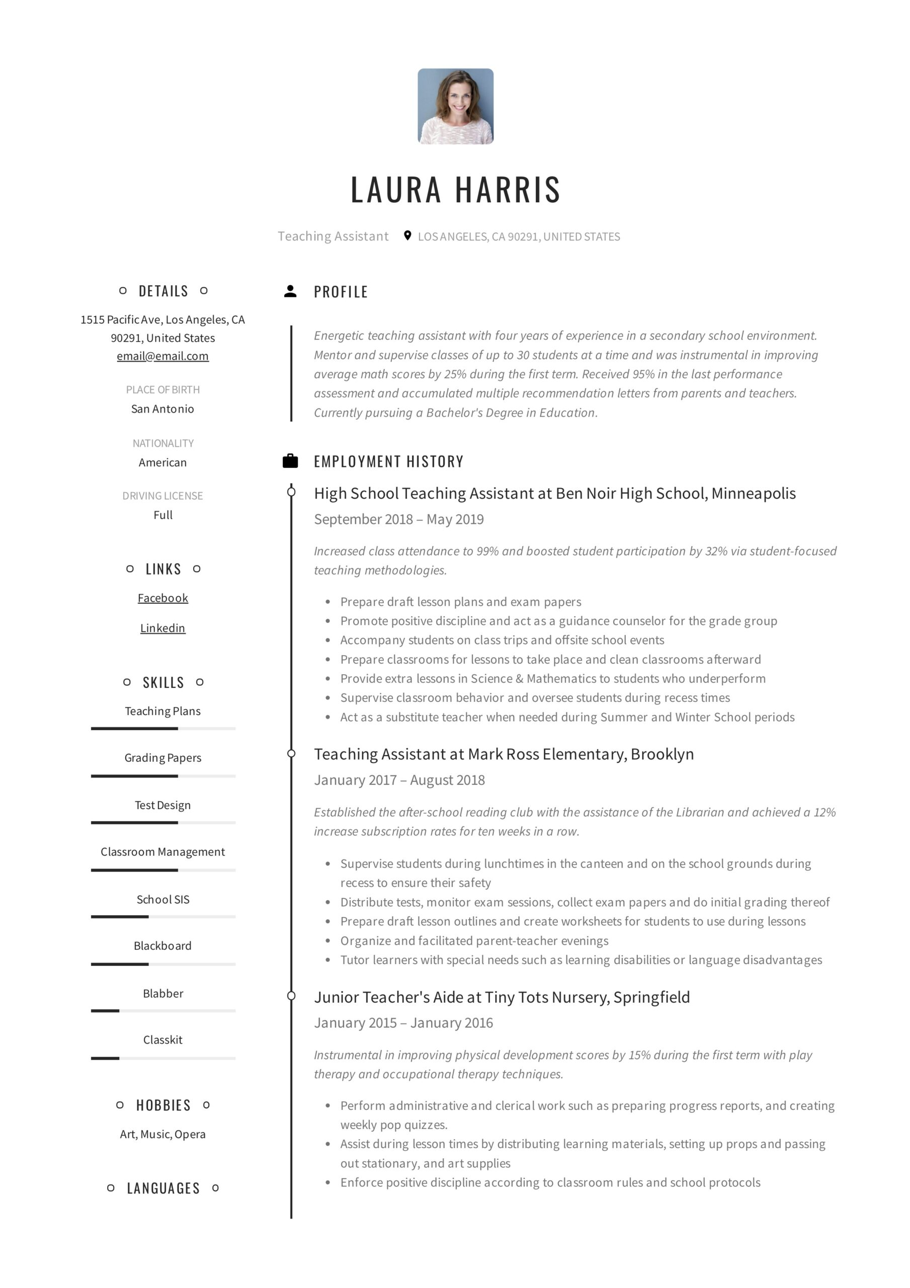 teaching assistant resume writing guide templates pdf paraprofessional summary examples Resume Paraprofessional Resume Summary Examples
