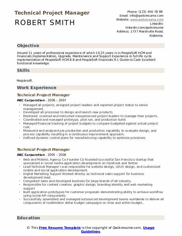 technical project manager resume samples qwikresume objective for pdf merger and Resume Objective For Resume Project Manager