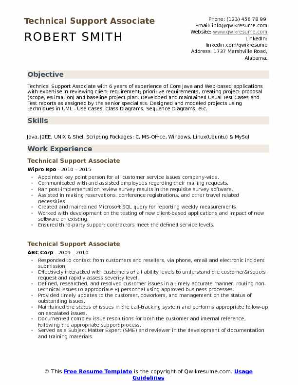 technical support associate resume samples qwikresume normal objective for pdf templates Resume Normal Objective For Resume