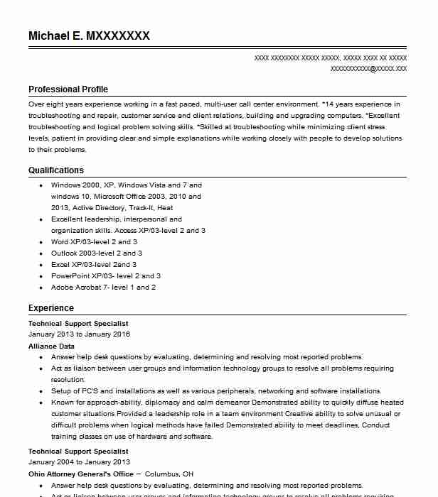 technical support specialist resume example livecareer entry level job zoology teacher Resume Technical Support Specialist Resume
