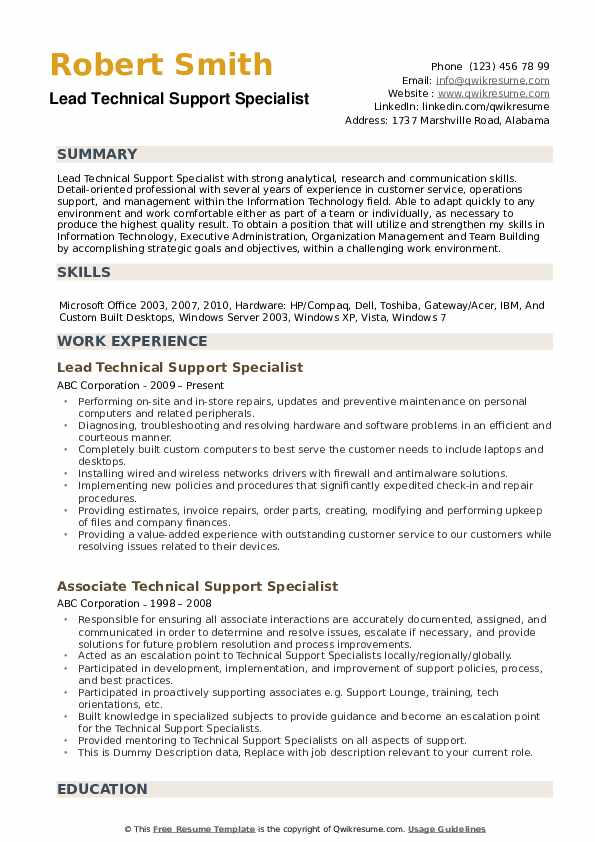 technical support specialist resume samples qwikresume pdf professional summary of Resume Technical Support Specialist Resume