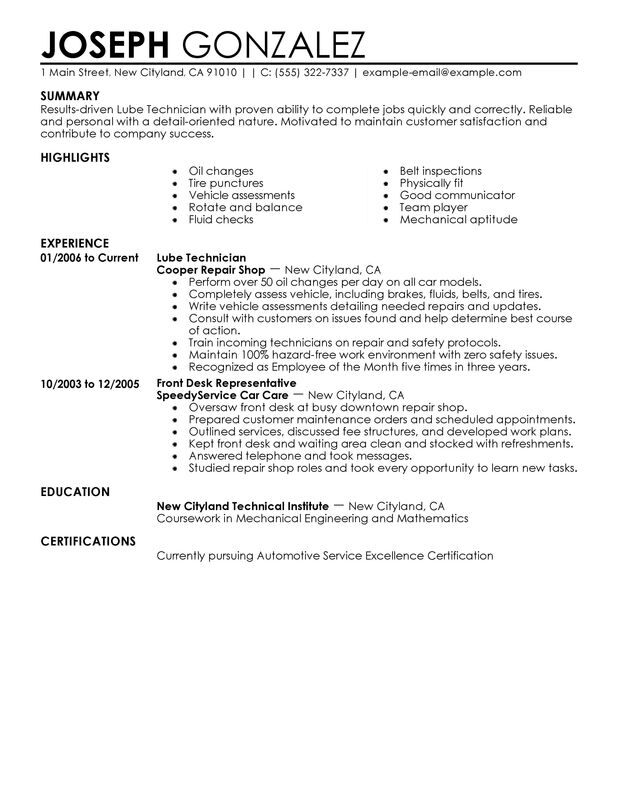 technician resume examples created by pros myperfectresume summary for customer service Resume Technician Summary For Resume