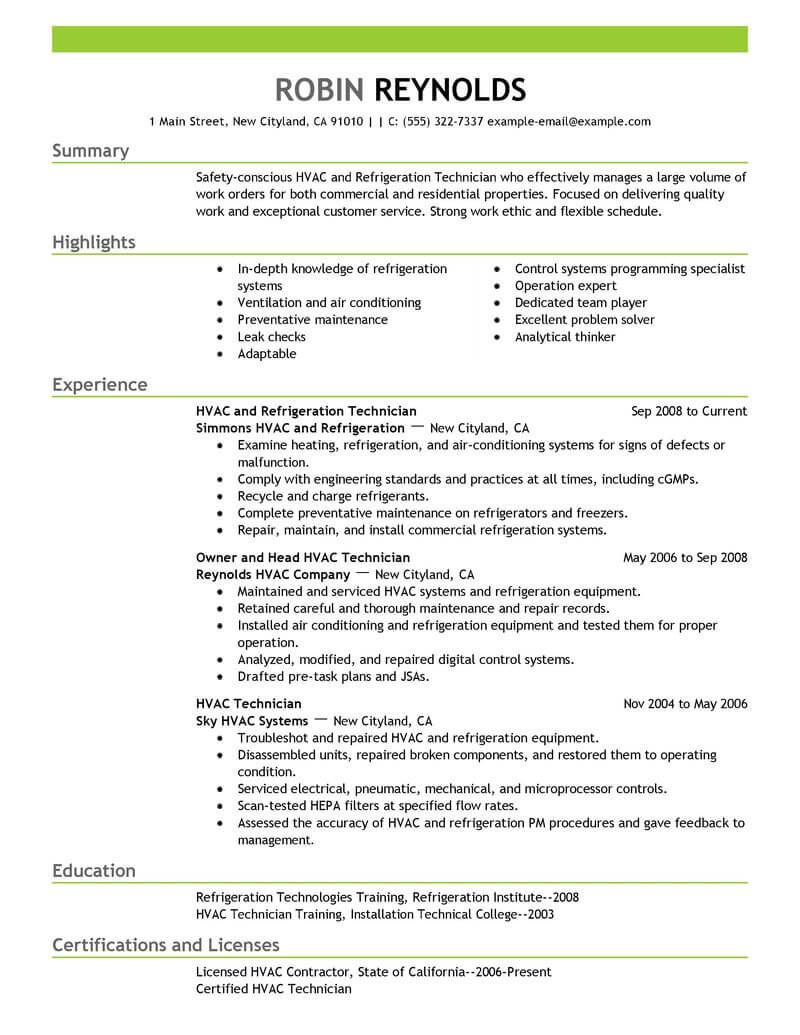 technician resume examples templates recruiter for refrigeration and airconditioning Resume Resume For Refrigeration And Airconditioning Mechanic