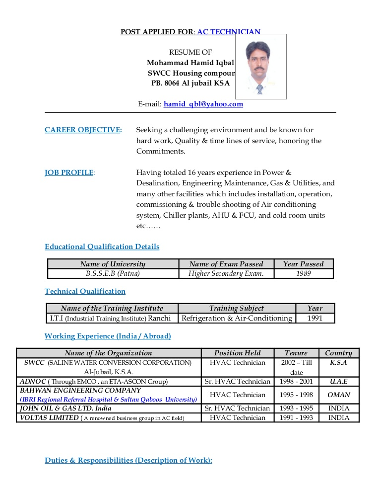 technician resume for refrigeration and airconditioning mechanic actechnician phpapp01 Resume Resume For Refrigeration And Airconditioning Mechanic