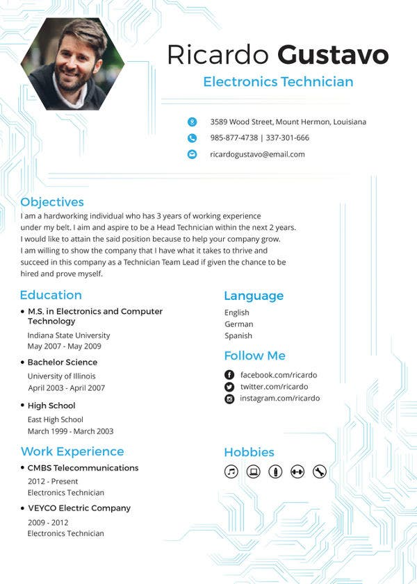 technician resume template free word pdf documents premium templates technical electronic Resume Technical Resume Template