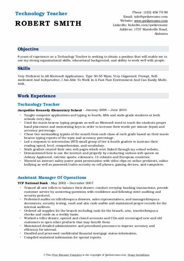 technology teacher resume samples qwikresume technologies tec pdf customer lying about Resume Resume Technologies Resume Tec