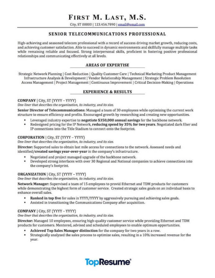 telecommunications resume sample professional examples topresume experience format two Resume Experience Resume Format Two Year Experience