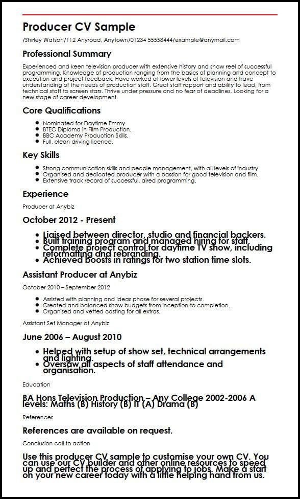 television producer cv example myperfectcv music industry resume sample infrastructure Resume Music Industry Resume Sample