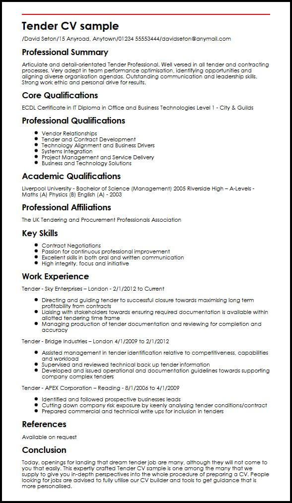 tender cv example myperfectcv strong work ethic resume sample property manager with ojt Resume Strong Work Ethic Resume
