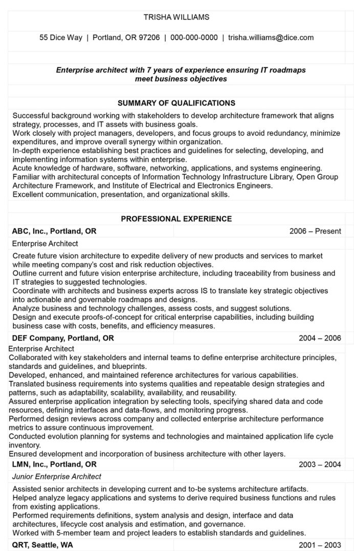 the architecture resume that gets you hired templates included enterprise architect Resume Enterprise Architect Resume