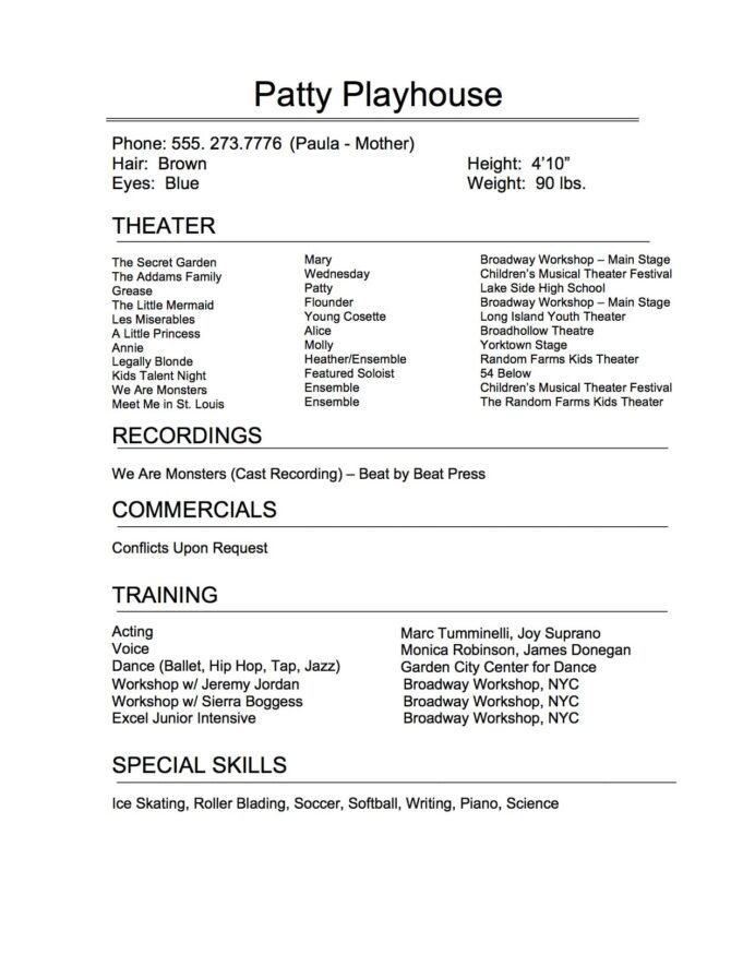 the art of perfect theatrical resume broadway workshop theater producer template library Resume Theater Producer Resume