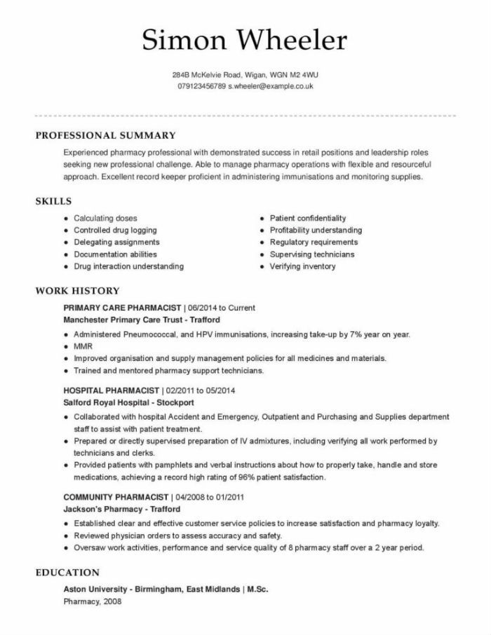 the best pharmacist cv and résumé examples retail resume hospital sample como hacer Resume Retail Pharmacist Resume