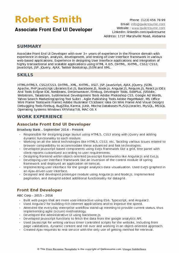 the best software engineer cv examples and templates program developer resume front end Resume Program Developer Resume