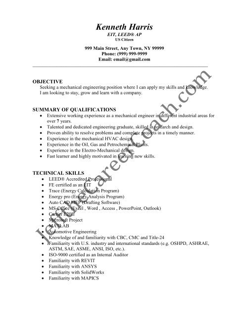 the mechanical engineer resume sample three in pdf design putting certifications on Resume Cad Design Engineer Resume