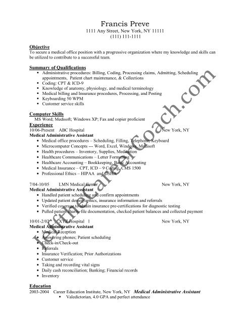 the medical administrative assistant resume sample skills apple expert python examples Resume Medical Administrative Assistant Resume Skills