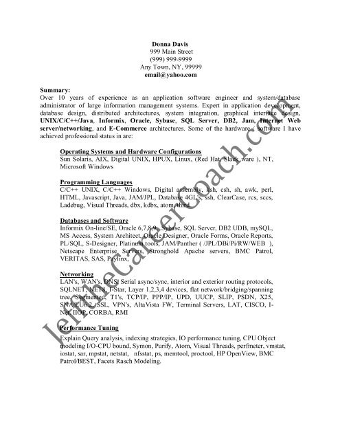 the resume sample one in pdf mysql simple format for students examples occupational Resume Mysql Dba Resume Sample