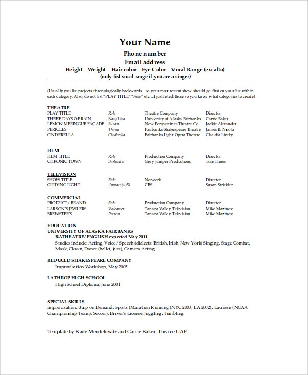 theater resume template free word pdf documents premium templates theatrical technical Resume Theatrical Resume Template