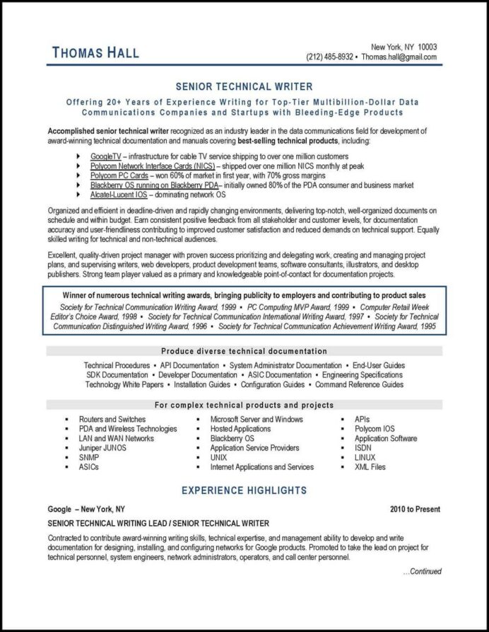 this technical writer resume example illustrates many best practices of writing with an Resume Technical Document Writer Resume