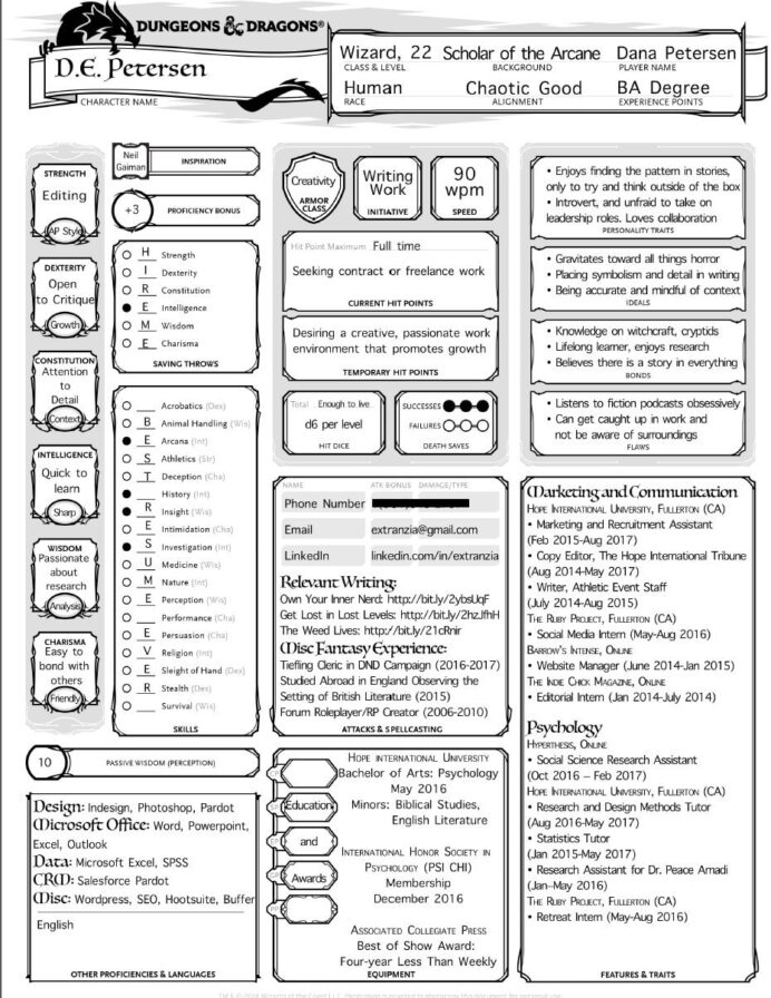 to dungeons and dragonsify your cv or resume coaching for geeks character sheet char Resume D&d Character Sheet Resume