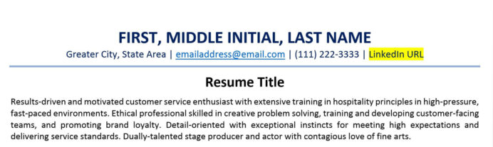to include linkedin url on your resume examples short for example customizable template Resume Short Linkedin Url For Resume