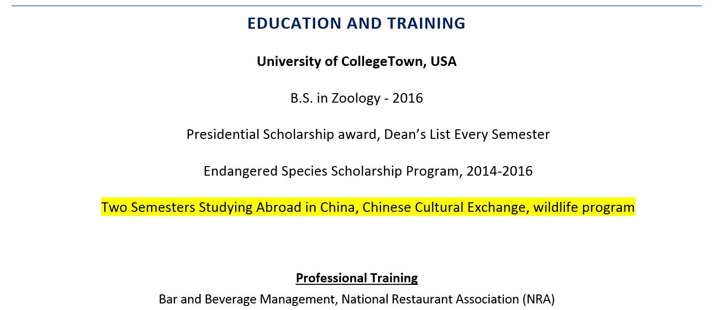 to include study abroad experience on resume examples work including warehouse sample Resume Abroad Work Experience On Resume