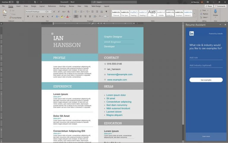 to make professional looking resume in word office onmsft assistant linkedin 768x483 Resume Office 365 Resume Assistant