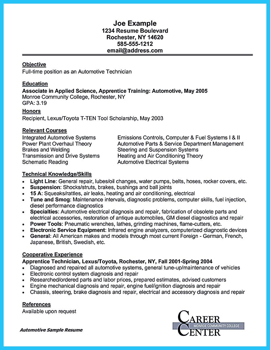 to write an automotive technician resume is similar with other resumes the parts of body Resume Parts Department Resume