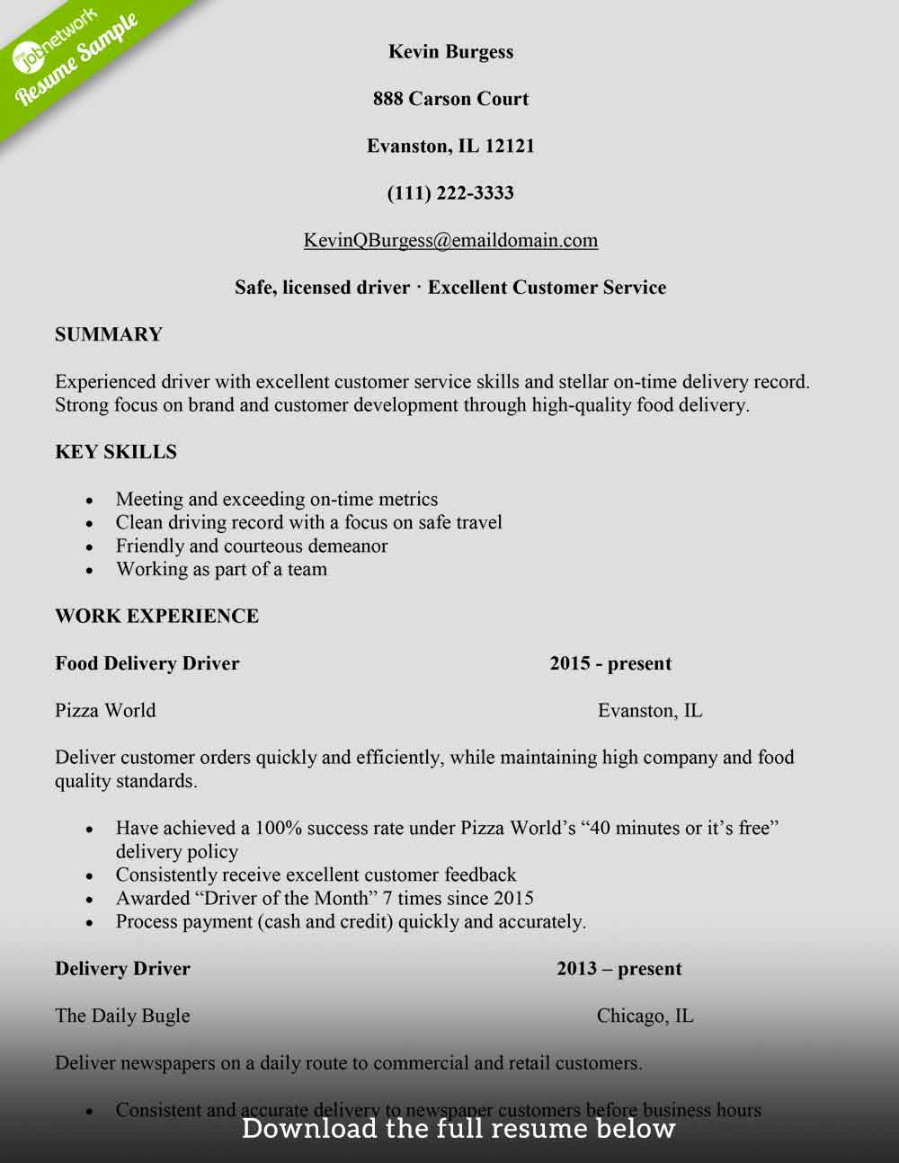 to write delivery driver resume with examples the jobnetwork package food service free Resume Package Delivery Driver Resume