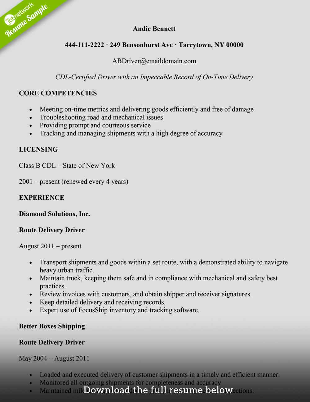 to write delivery driver resume with examples the jobnetwork personal skills for freight Resume Personal Driver Skills For Resume