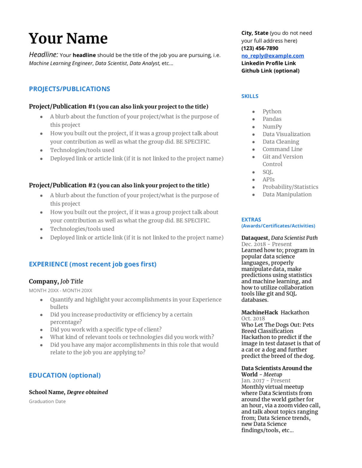 to write great data science resume dataquest scientist examples template firefighter Resume Scientist Resume Examples