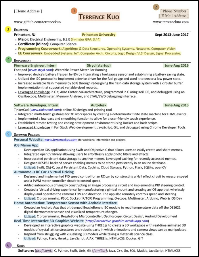 to write killer software engineering résumé resume projects section sections highlight Resume Resume Projects Section