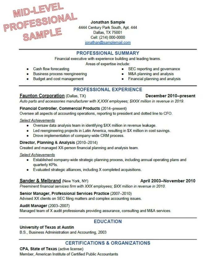 to write the perfect resume based on your years of experience example professional format Resume Example Of A Professional Resume Format